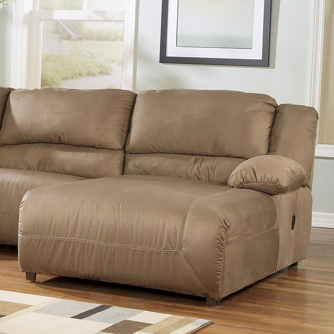 Hogan Mocha Right Facing Pressback Sectional Chaise By Signature Design