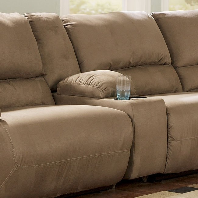 Hogan Mocha Modular Sectional Console Storage W 2 Cupholders By Signature Design