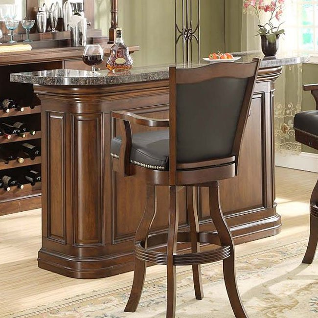 preston granite top home bar distressed walnut eci. Black Bedroom Furniture Sets. Home Design Ideas