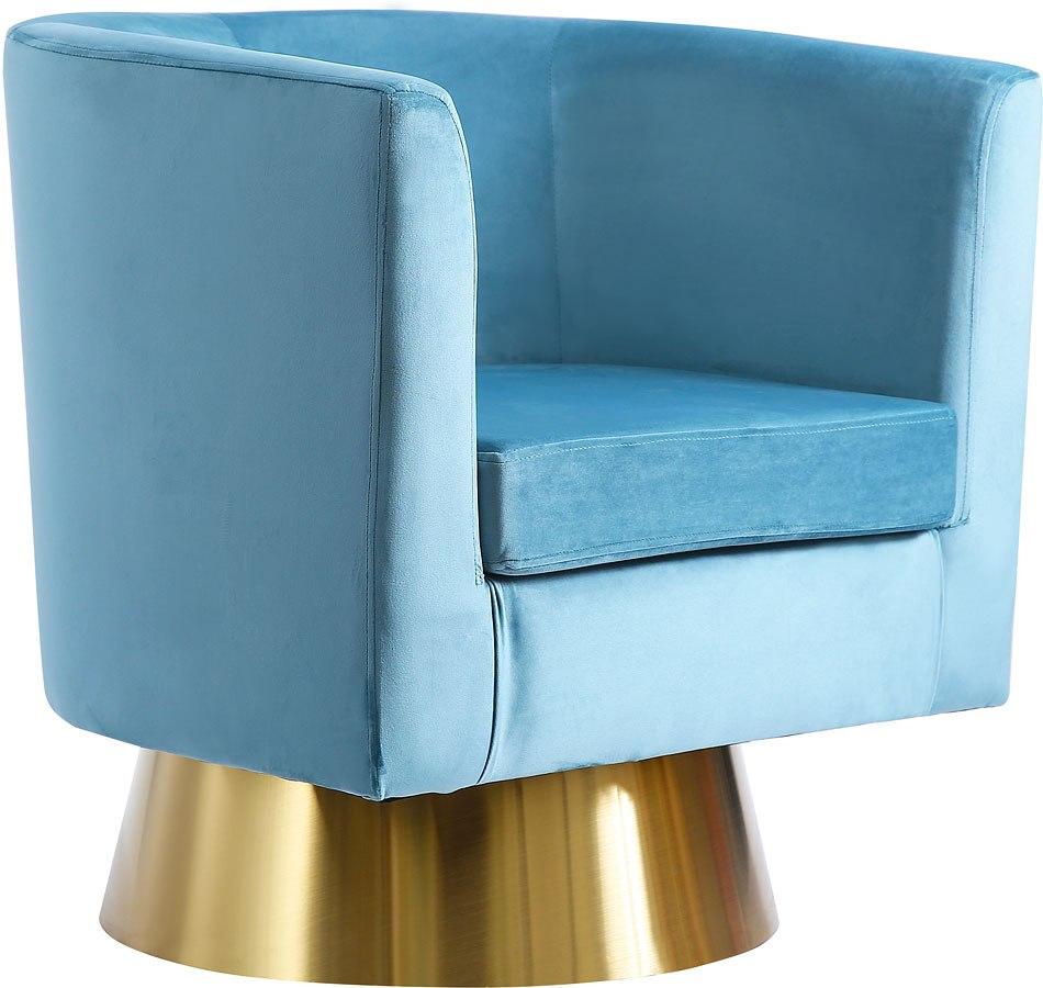 Bellagio Velvet Accent Chair Aqua Meridian Furniture