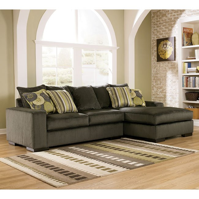 Freestyle - Pewter Sectional Living Room Set Signature ...