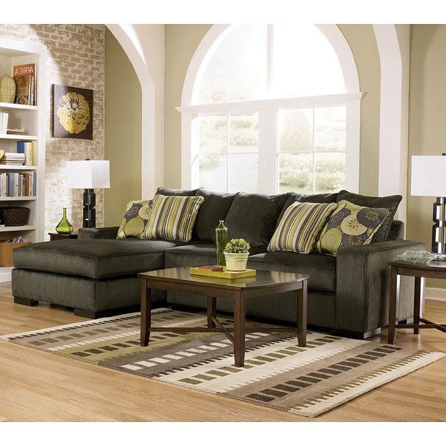 Freestyle - Pewter Sectional Living Room Set Signature Design By ...