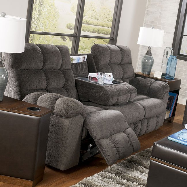 Acieona Slate Reclining Sofa W Drop Down Table Signature