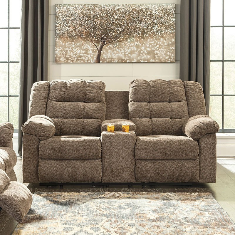 Admirable Workhorse Cocoa Reclining Loveseat W Console Andrewgaddart Wooden Chair Designs For Living Room Andrewgaddartcom