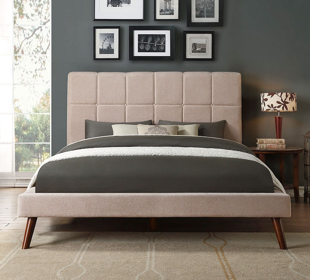 Kinsale Beige Upholstered Platform Bed Homelegance Furniture Cart