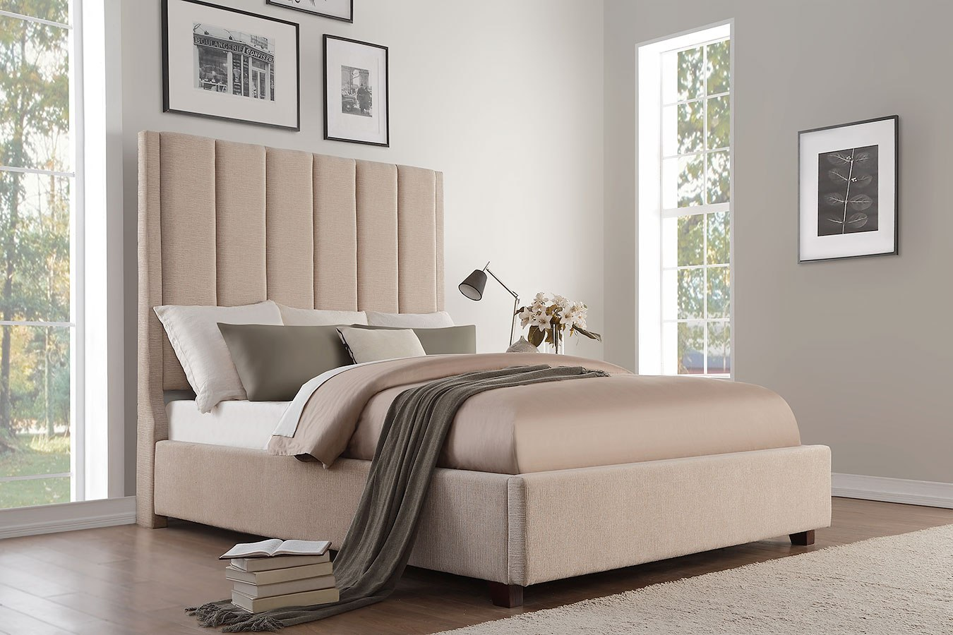 Neunan Beige Upholstered Bed Homelegance Furniture Cart