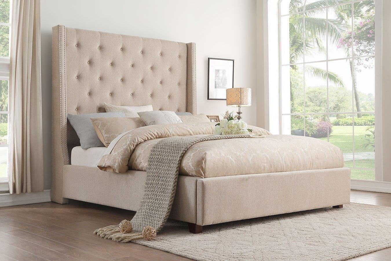 Fairborn Beige Upholstered Bed Homelegance Furniture Cart