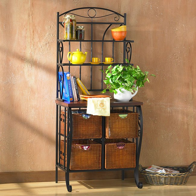 Lillian Iron And Rattan Bakers Rack Holly Martin