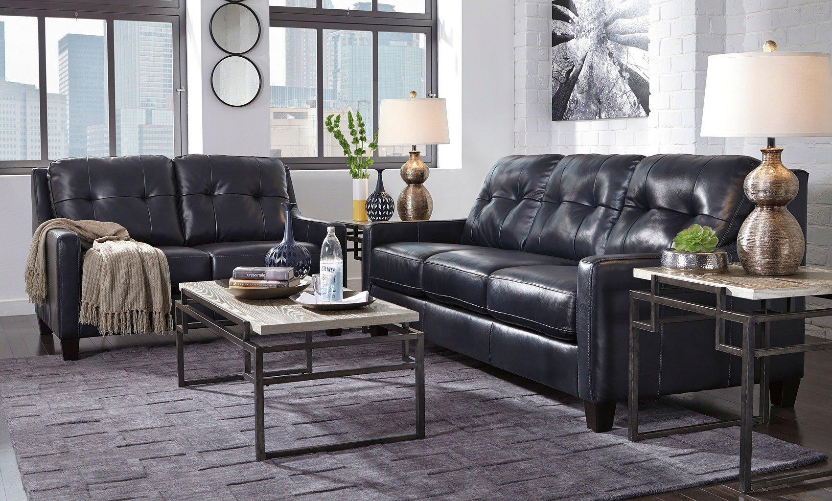 Okean Navy Living Room Set Signature Design Furniture Cart