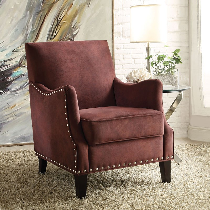 Sinai Accent Chair Rust Red Acme Furniture Furniture Cart
