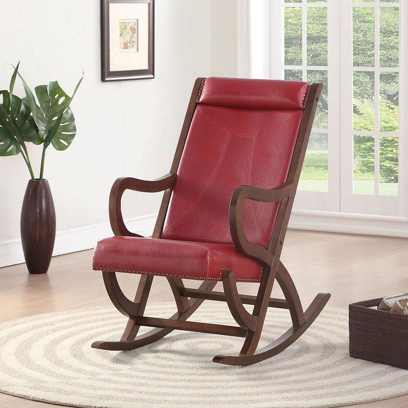 Triton Rocking Chair Burgundy Walnut Acme Furniture