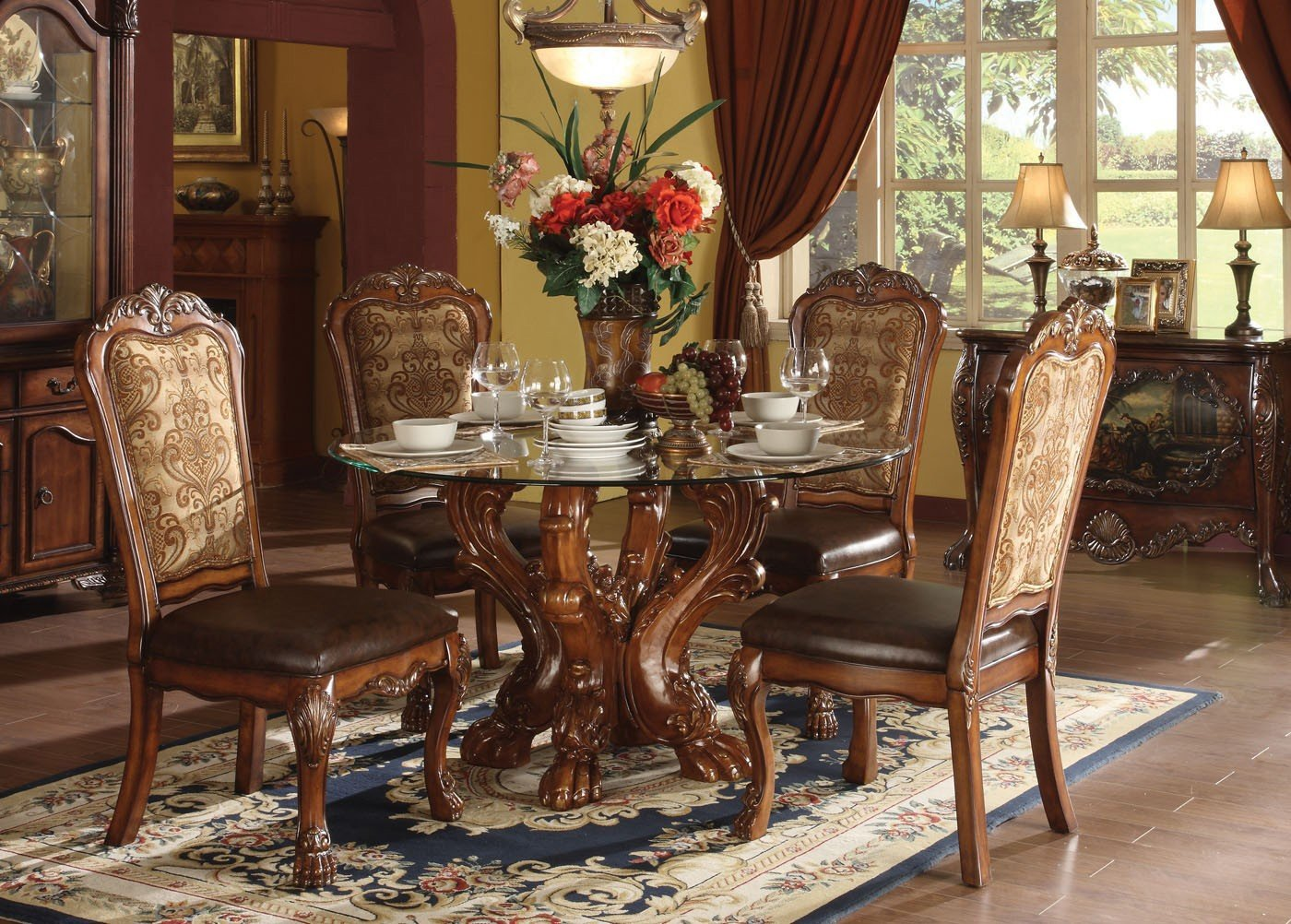 Dresden Round Glass Top Dinette Acme Furniture Furniture