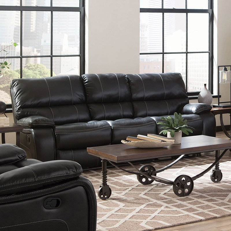 Living Room Furniture Sets Black: Willemse Reclining Living Room Set (Black) Coaster