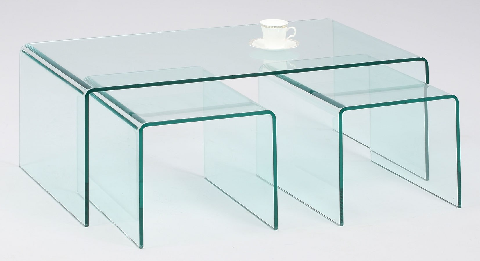 Picture of: Nested Bent Glass 3 Piece Occasional Table Set Chintaly Imports Furniture Cart