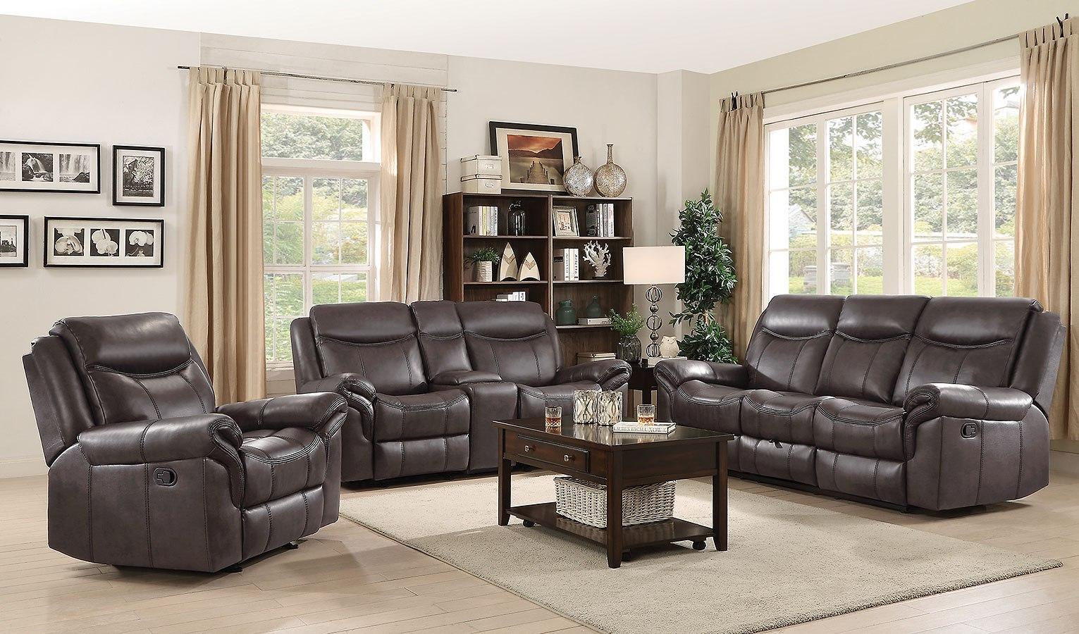 Sawyer reclining living room set brown