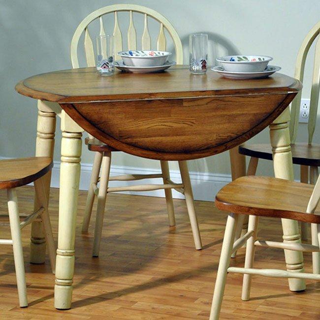 Missouri Round Dining Table Black Rustic Oak Eci: Farm House Round Table (Rustic Oak/ Antique White) ECI