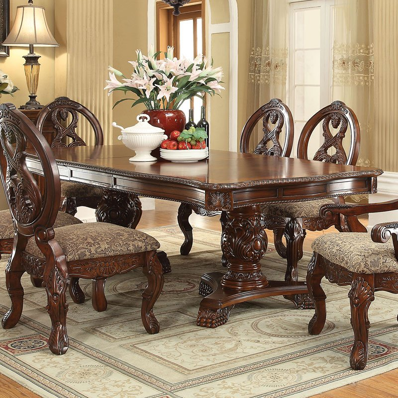 Double Pedestal Dining Room Table: Rovledo Double Pedestal Dining Table Acme Furniture, 1
