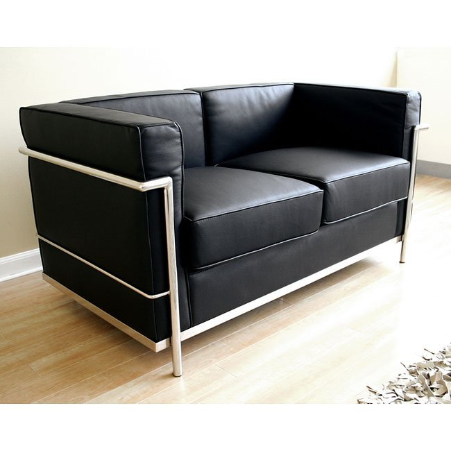 Le Corbusier-Style Loveseat (Black)