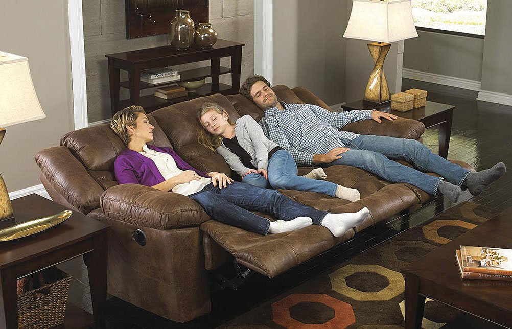 Valiant Power Triple Reclining Sofa W/ Drop Down Table (Elk)