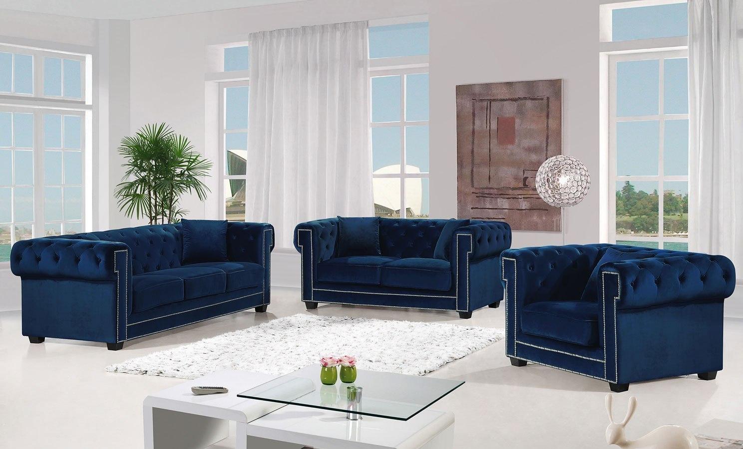 Bowery Living Room Set (Navy)