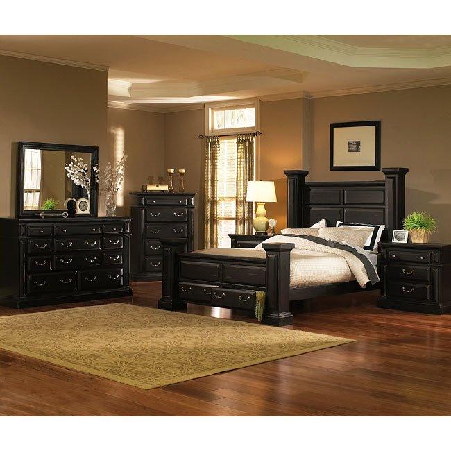 Torreon Poster Storage Bedroom Set (Antique Black)