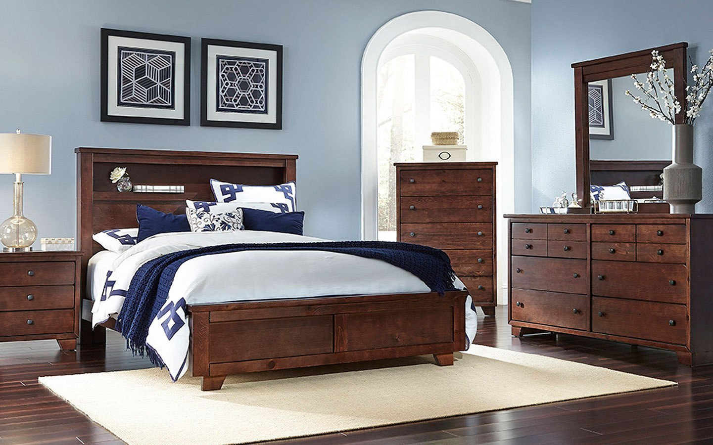 Diego Bookcase Bedroom Set (Espresso Pine) Progressive