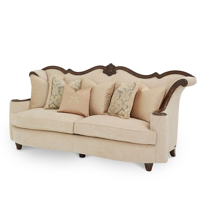 victoria palace wood trim sofa pale gold aico furniture rh furniturecart com wood trim camelback sofa wood trim leather sofa