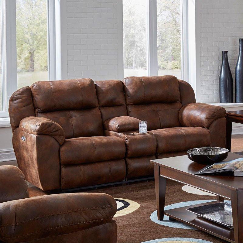 Ferrington Power Lay Flat Reclining Living Room Set Dusk: Ferrington Power Lay Flat Reclining Loveseat W/ Console