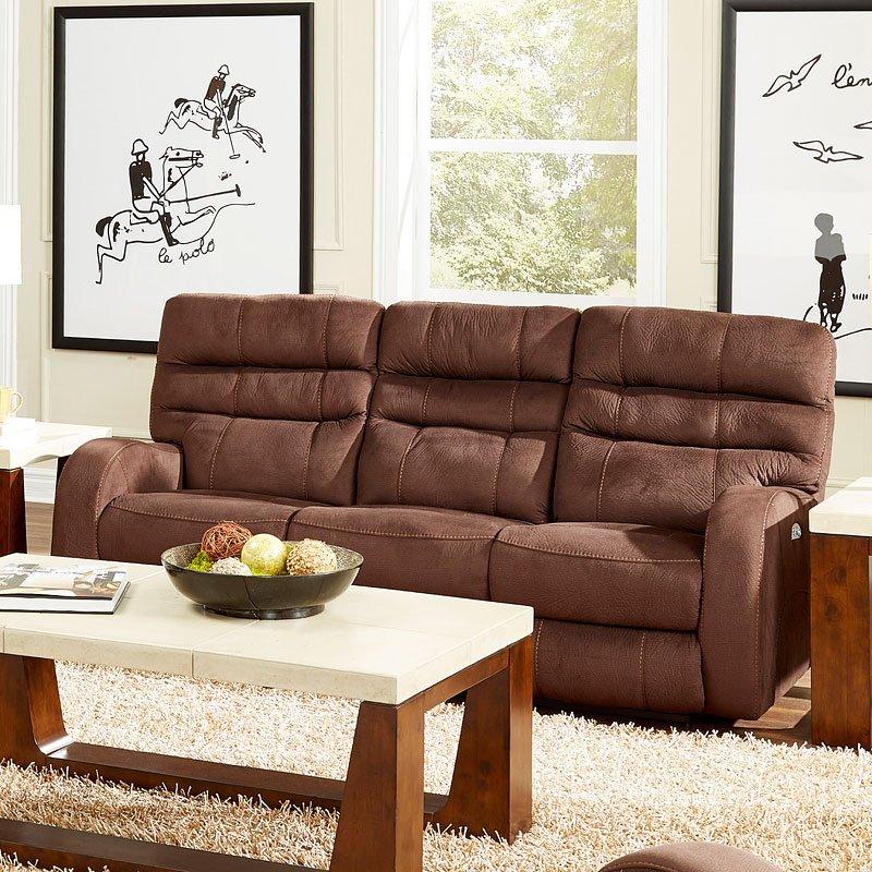 Kelsey Power Lay Flat Reclining Sofa (Walnut)