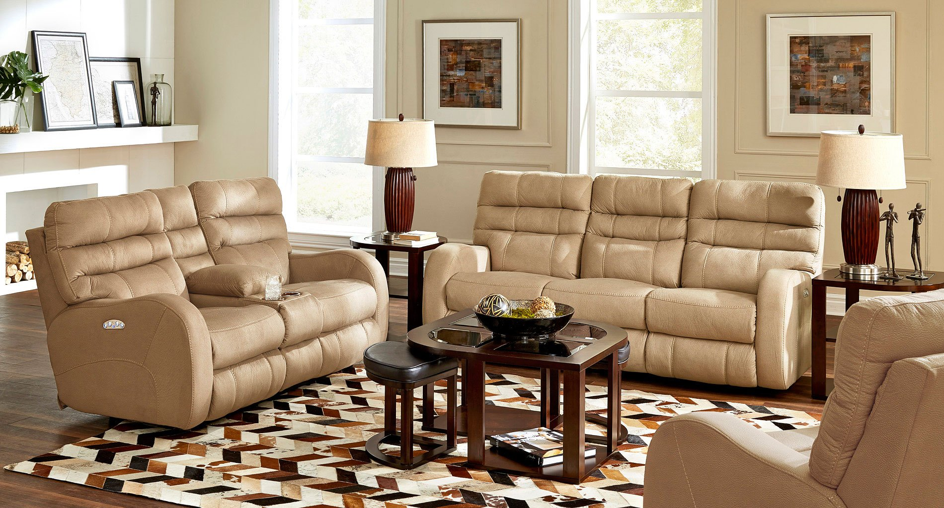 Kelsey Power Lay Flat Reclining Living Room Set Doe