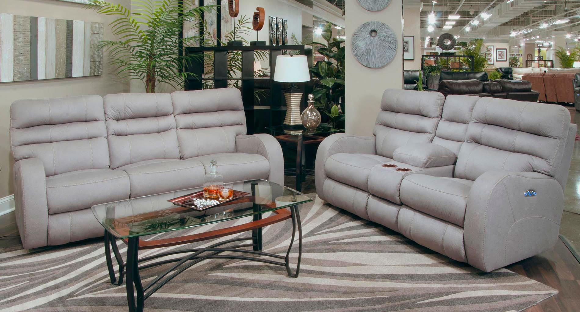 Kelsey Power Lay Flat Reclining Living Room Set Aluminum