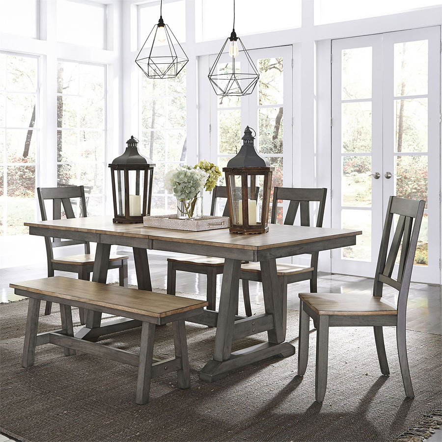 Groovy Lindsey Farm Trestle Dining Room Set W Bench Alphanode Cool Chair Designs And Ideas Alphanodeonline