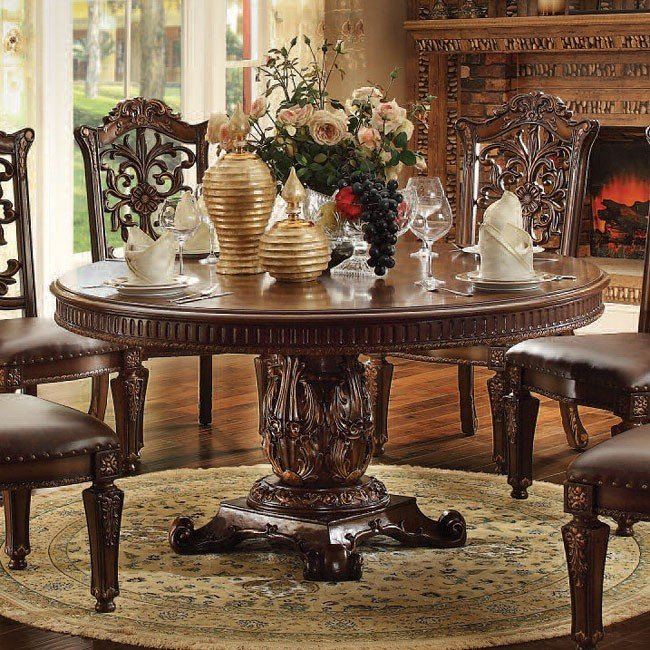 Vendome 60 Inch Round Dining Table (Cherry) Acme Furniture ...