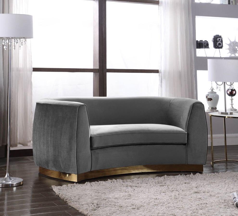 Ashley Furniture Meridian Idaho: Julian Loveseat (Grey/ Gold) Meridian Furniture