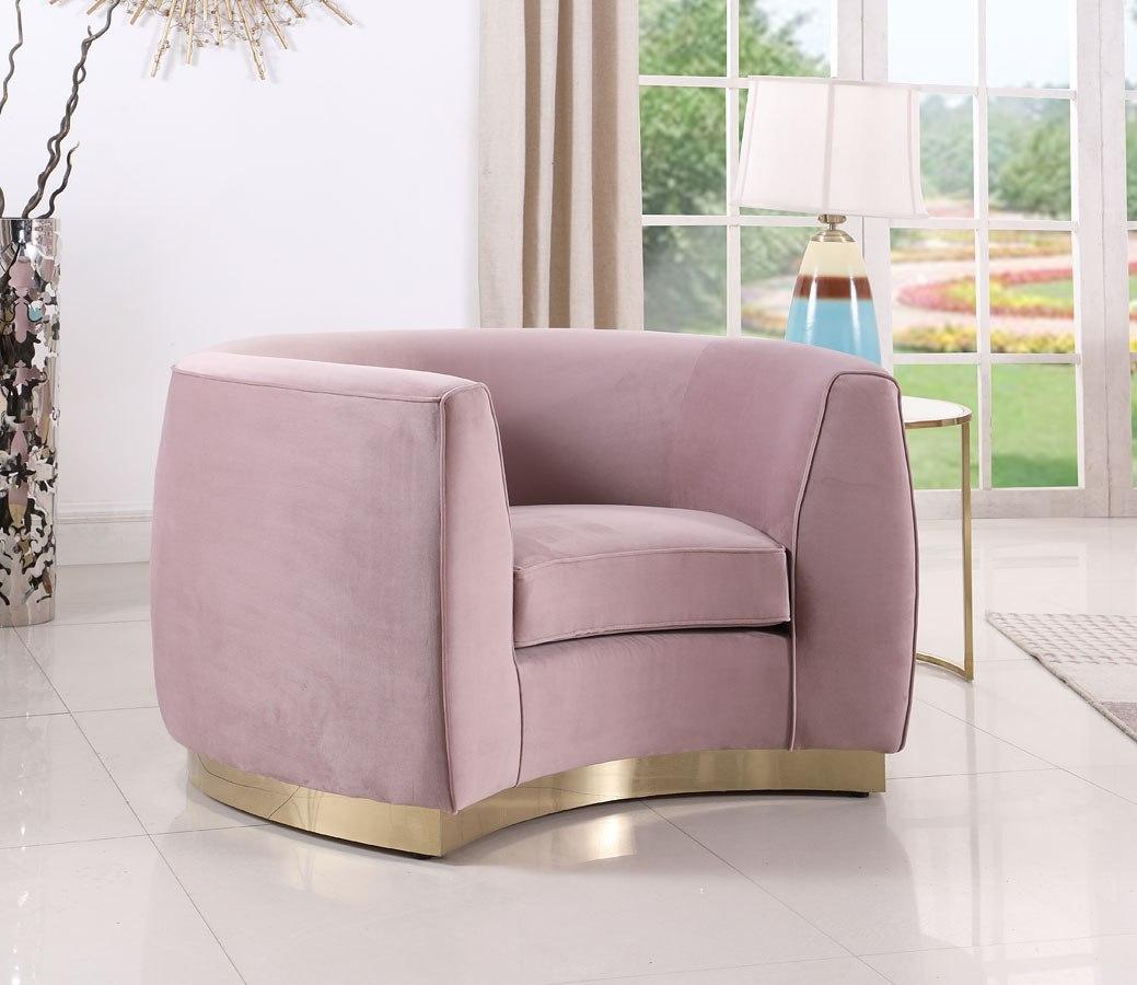 Julian Living Room Set Pink Gold Meridian Furniture Furniture Cart