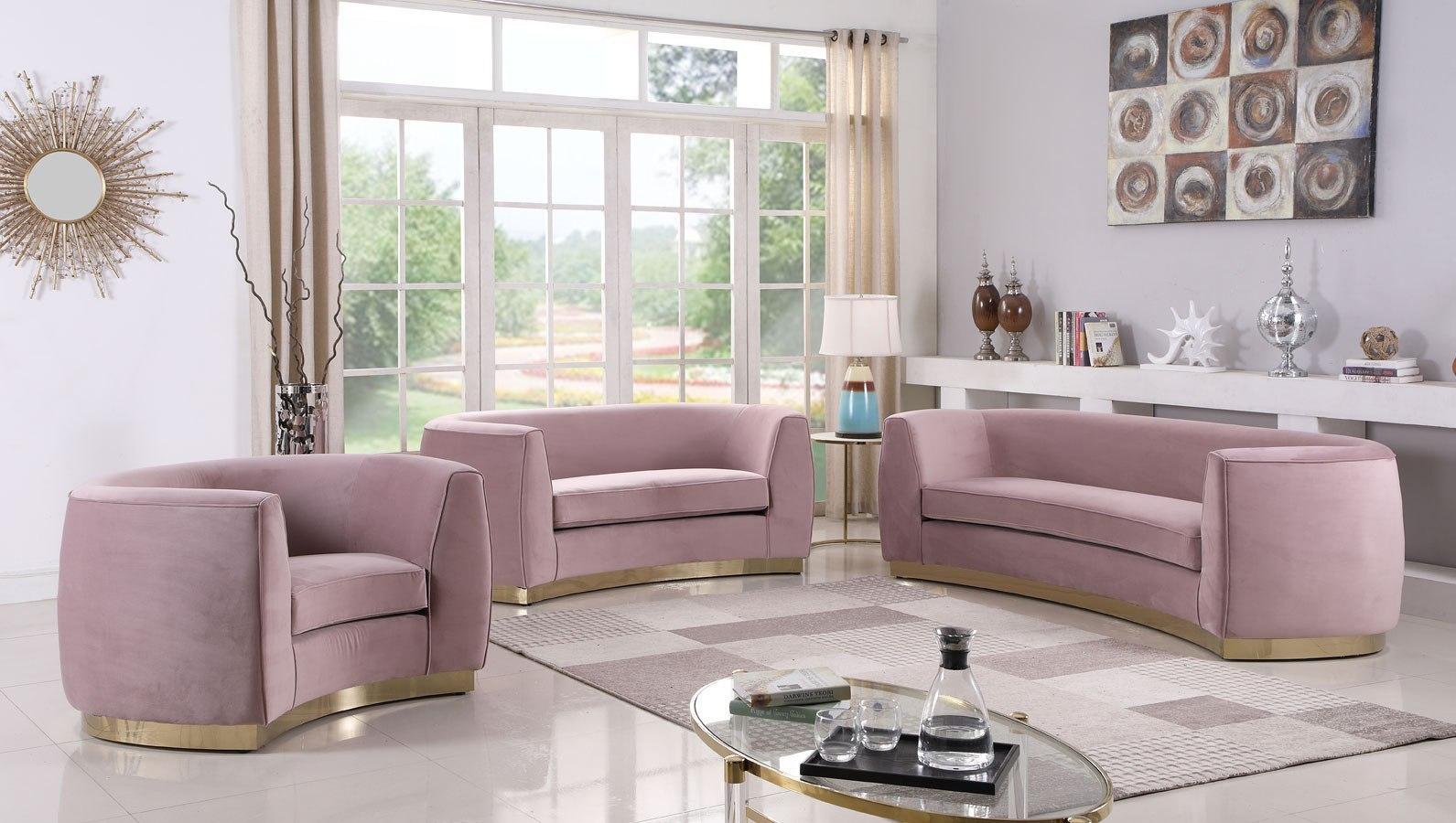 Julian Living Room Set (Pink/ Gold)