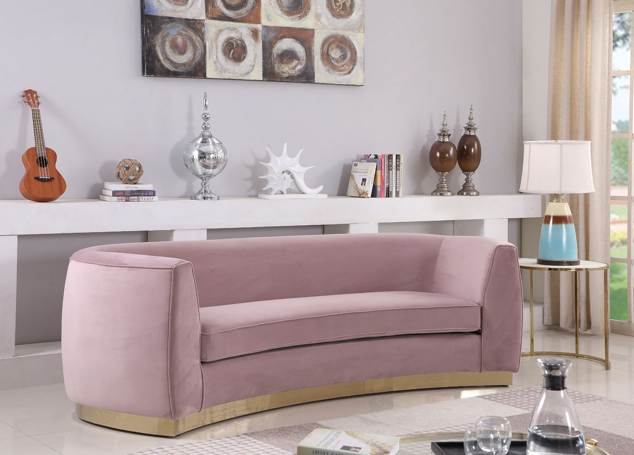 Julian Sofa Pink Gold Meridian Furniture Furniture Cart