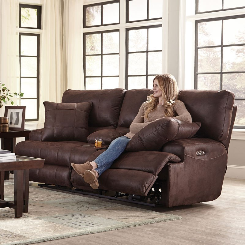 Monaco Power Lay Flat Reclining Console Loveseat W Power
