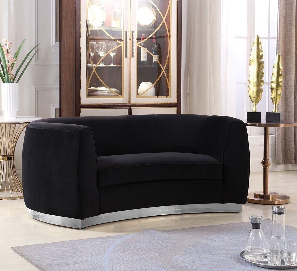 Ashley Furniture Meridian Idaho: Julian Loveseat (Black/ Chrome) Meridian Furniture