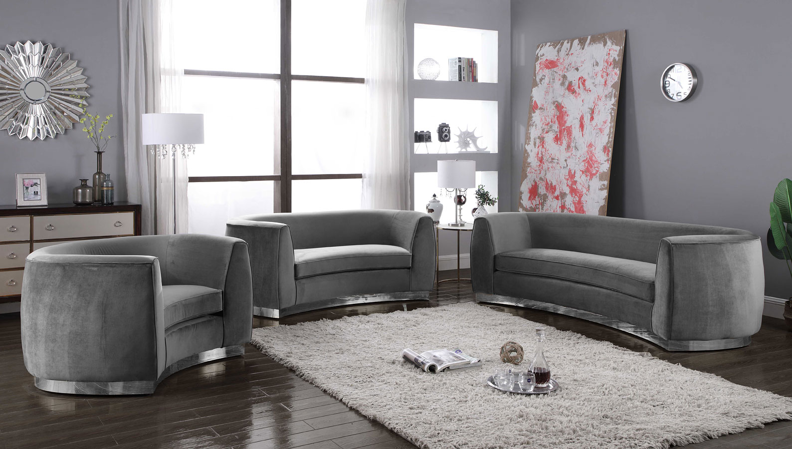 Julian Living Room Set Grey Chrome Meridian Furniture