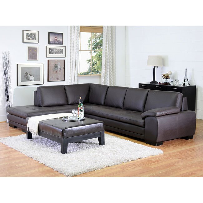 Diana Left Facing Chaise Sectional (Brown)