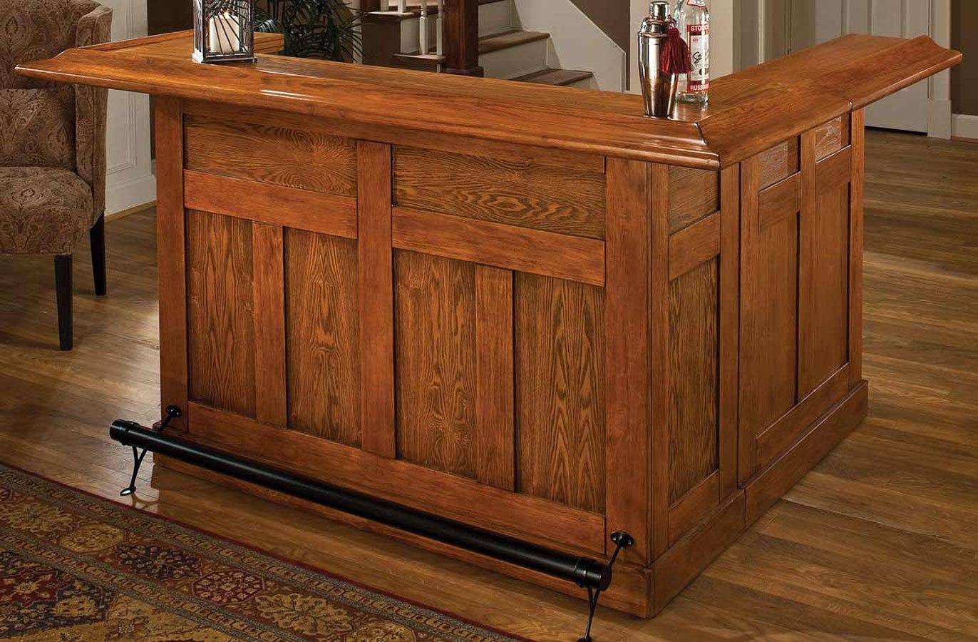 Classic Oak Large Home Bar w/ Side Bar