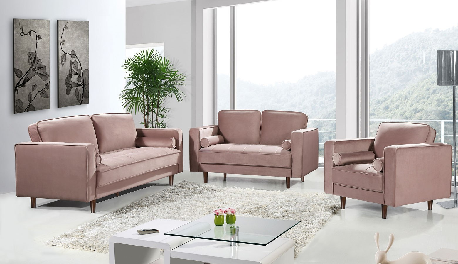 Emily Living Room Set Pink