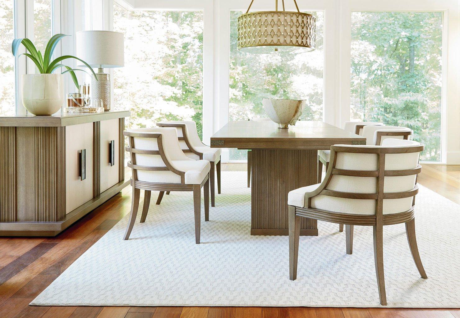 Synchronicity Rectangular Dining Set W Barrel Chairs