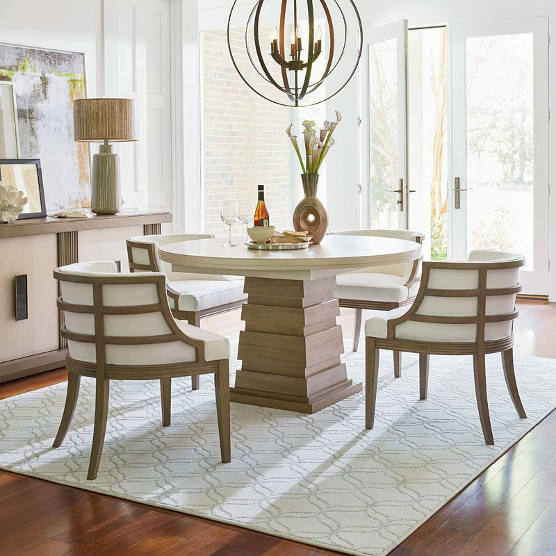 Synchronicity Round Dining Set W Barrel Chairs
