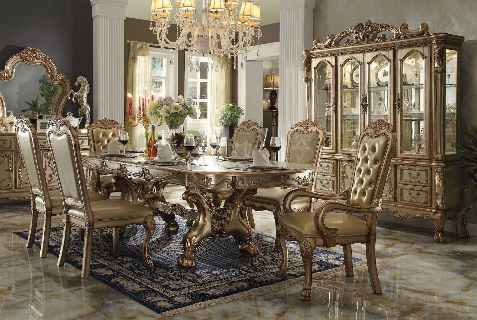 7341723b9473 Dresden Dining Room Set (Gold Patina) Acme Furniture