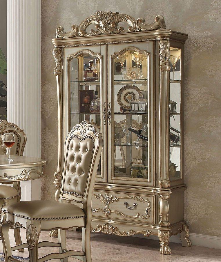 Dresden Curio Cabinet (Gold Patina)