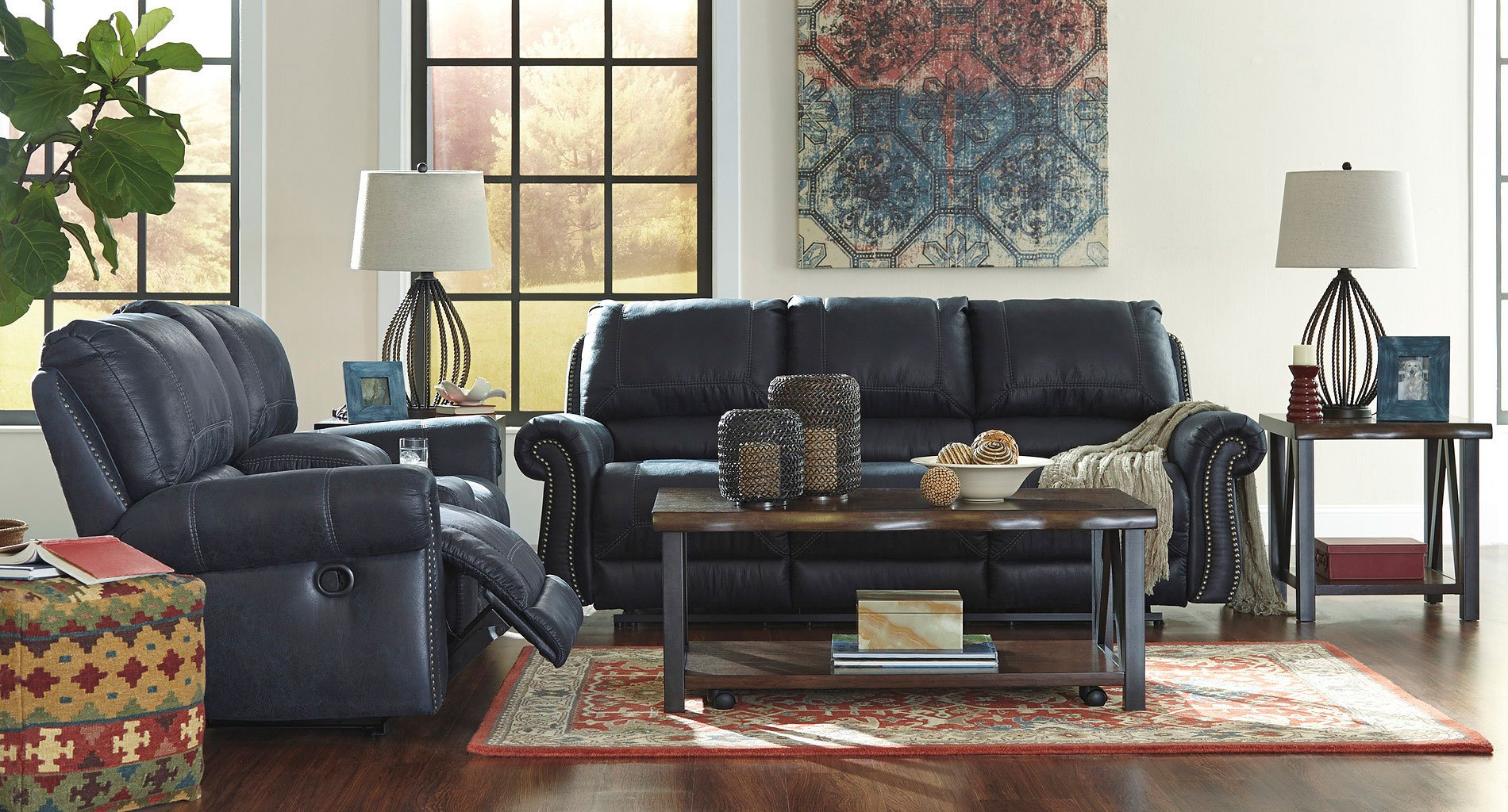Milhaven Navy Reclining Living Room Set Signature Design
