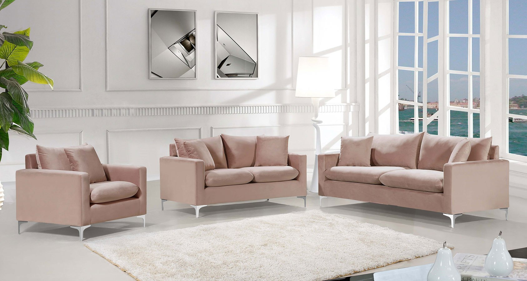 Naomi Living Room Set Pink
