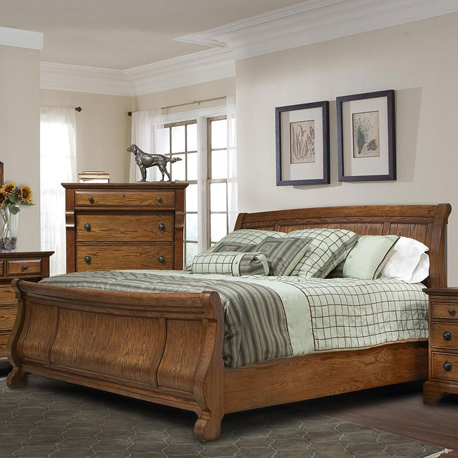 Georgetown Sleigh Bed (Oak)